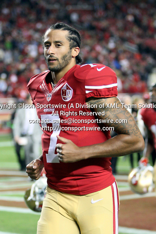 September 12 2016: Quarterback Colin Kaepernick of the San Francisco 49ers during a 28-0 victory over the Los Angeles Rams at Levi's Stadium in Santa Clara, CA (Photo by Rob Holt/Icon Sportswire)