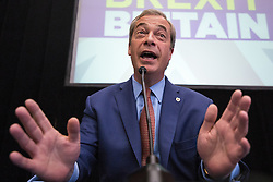 © Licensed to London News Pictures . 04/07/2016 . London , UK . UKIP leader NIGEL FARAGE delivers a speech on the party's plans , at which he announces his resignation as leader , following the Brexit referendum , at The Emmanuel Centre in Westminster . Photo credit : Joel Goodman/LNP