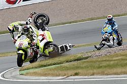 17.07.2010, Sachsenring, GER, MotoGP, Deutschland Grand Prix 2010, im Bild crash of Aleix Espargaró - Pramac Ducati racing team. EXPA Pictures © 2010, PhotoCredit: EXPA/ InsideFoto/ Semedia +++ ATTENTION - FOR AUSTRIA AND SLOVENIA CLIENT ONLY +++ / SPORTIDA PHOTO AGENCY