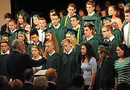 "TOWAMENCIN, PA - JUNE 07: Members of the school's touring choir perform ""All Flesh is Grass"" during Christopher Dock Mennonite High School graduation ceremonies June 7, 2014 Towamencin, Pennsylvania. (Photo by William Thomas Cain/Cain Images)"
