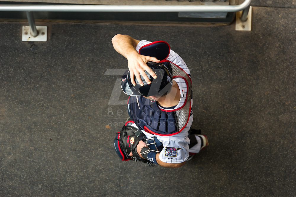 Joe Mauer #7 of the Minnesota Twins leaves the bullpen before a game against the Philadelphia Phillies on June 11, 2013 at Target Field in Minneapolis, Minnesota.  The Twins defeated the Phillies 3 to 2.  Photo: Ben Krause