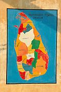 Map of Sri Lanka on an East Coast school wall.