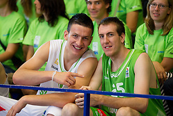 Alen Omic and Urban Gorjanc during Open day of Slovenian U20 National basketball team before the European Chmpionship in Slovenia, on July 9, 2012 in Domzale, Slovenia.  (Photo by Vid Ponikvar / Sportida.com)