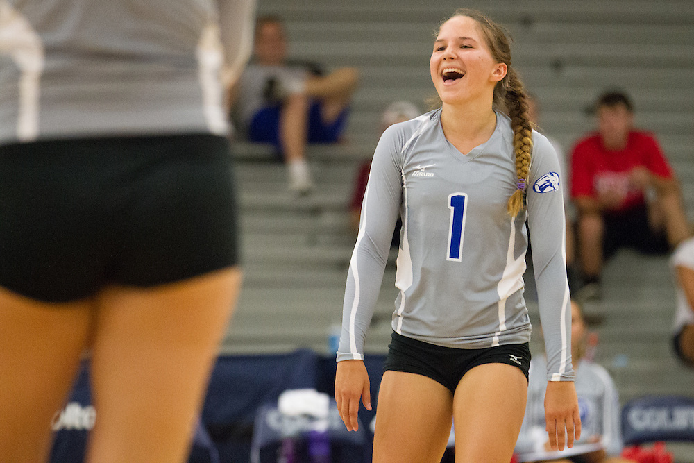 Emily Moslener, of Colby College, during an NCAA Division III volleyball match against The University of Maine at Fort Kent at The Whitmore-Mitchell at Wadsworth Gymnasium, Saturday Sep. 6, 2014 in Waterville, ME.  (Dustin Satloff/Colby College Athletics)