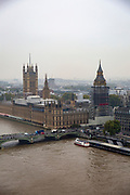 An aerial view of the The Palace of Westminster, also known as the Houses of Parliament or Westminster Palace covered in scaffolding.  It is the meeting place of the two houses of the Parliament of the United Kingdom and is on the bank of the river Thames in London.(photo by Andrew Aitchison / In pictures via Getty Images)