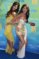 Aug. 7, 2011 - Los Angeles, California, U.S. -  Actress/singer DEMI LOVATO (L) and actress/singer SELENA GOMEZ arrive at the 2011 Teen Choice Awards at the Gibson Amphitheatre. (Credit Image: © Paul Fenton/ZUMAPRESS.com)
