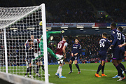 West Ham United goalkeeper Roberto (13) punches into his own net 3-0  during the Premier League match between Burnley and West Ham United at Turf Moor, Burnley, England on 9 November 2019.