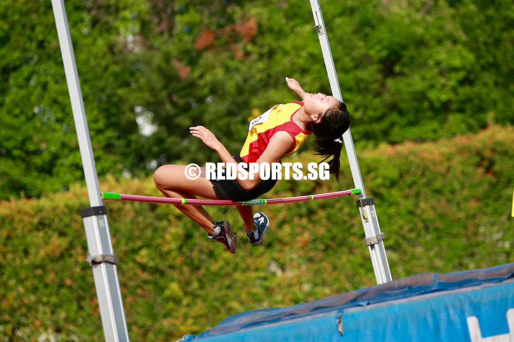 Bishan Stadium, Tuesday, April 19, 2016 — Kon Pei Ying of Hwa Chong Instituion (HCI) cleared a personal best height of 1.59 metres to clinch the A Division Girls' high jump gold at the 57th National Schools Track and Field Championships.