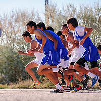 110114  Adron Gardner/Independent<br /> <br /> Varsity body leave the start line during the district cross country meet in Navajo Saturday.