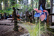 United States of America, Peninsula, 04-09-2018<br /> In een tuin van een buitenverblijf bij Peninsula staat een windmolentje met de Amerikaanse vlag.<br /> <br /> In a garden in Peninsula a wind mill of the American flag is seen.<br /> Foto: Bas de Meijer / De Beeldunie