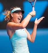 Maria Sharapova (RUS) faced A. Cornet (FRA) in Women's Singles action in Day Six of the Australian Open. Sharapova won the morning match 6-1, 7-6 (6) at Melbourne's Rod Laver Arena.