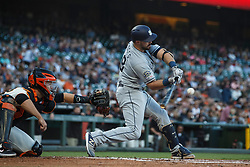 SAN FRANCISCO, CA - JUNE 12: Austin Hedges #18 of the San Diego Padres at bat against the San Francisco Giants during the second inning at Oracle Park on June 12, 2019 in San Francisco, California. The San Francisco Giants defeated the San Diego Padres 4-2. (Photo by Jason O. Watson/Getty Images) *** Local Caption *** Austin Hedges