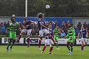 Exeter City's Craig Woodman(3) heads the ball clear during the EFL Sky Bet League 2 match between Forest Green Rovers and Exeter City at the New Lawn, Forest Green, United Kingdom on 9 September 2017. Photo by Shane Healey.