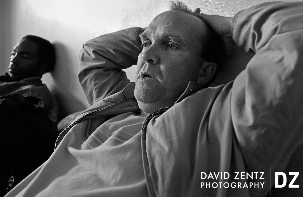 PURCHASE THESE PHOTOS AT PJSTAR.COM  DAVID ZENTZ/JOURNAL STAR.Tom at Day Center.He's not doing so well. Seems to have a respiratory problem and is frazzled. Mumbles to himself more than usual while he's thinking. He had gone looking at a house last week, but has given up on getting it. Said it was too expensive at 550 or so a month. He was also complaining about not having anywhere to lay down during the day again. Said he went to a motel last week but the lady wouldn't give him a room b/c he looked shady. May have also been since it was the middle of the day I think. She told him nothing would be available until the evening, which he took as her putting him off. Hard to say.