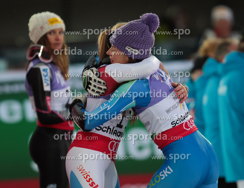 05.02.2013, Planai, Schladming, AUT, FIS Weltmeisterschaften Ski Alpin, Suber G, Damen, Siegerpraesentation, im Bild Lara Gut (SUI, 2. Platz) und Tina Maze (SLO, 1. Platz) // 2nd place Lara Gut of Switzerland on Winners Presentation and 1st place Tina Maze of Slovenia during ladies SuperG at the FIS Ski World Championships 2013 at the Planai Course, Schladming, Austria on 2013/02/05. EXPA Pictures © 2013, PhotoCredit: EXPA/ Sammy Minkoff