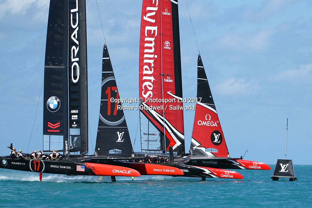 Oracle Team USA and Emirates Team New Zealand start Race 5, Day 1 America's Cup 2017, May 27, 2017 Great Sound Bermuda<br /> Copyright photo: Richard Gladwell / www.photosport.nz