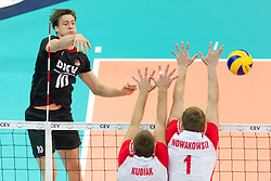 10.09.2011, O2 Arena, Prag, CZE, Europameisterschaft Volleyball Maenner, Vorrunde D, Deutschland (GER) vs Polen (POL), im Bild Jochen Schöps/Schoeps (#10 GER / Odintsovo RUS) - Michal Kubiak (#13 POL), Piotr Nowakowski (#1 POL) // during the 2011 CEV European Championship, Germany vs Poland at O2 Arena, Prague, 2011-09-10. EXPA Pictures © 2011, PhotoCredit: EXPA/ nph/  Kurth       ****** out of GER / CRO  / BEL ******