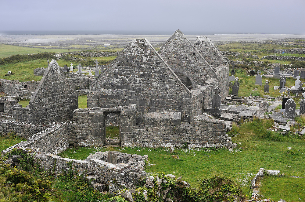 Ruins on Inishmore, the largest of the Aran Islands, Co. Galway, Ireland.