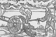 Master gunner firing a cannon.  Wodcut from Edward Webbe 'Travels', 1590.