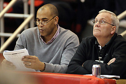 14 February 2015:   National Basketball Association Scouts Andrew Kennedy (Houston Rockets) and Jack Fitzgerald (Miami Heat) watch some prospective talent during an NCAA MVC (Missouri Valley Conference) men's basketball game between the Wichita State Shockers and the Illinois State Redbirds at Redbird Arena in Normal Illinois