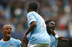 01.05.2010, City of Manchester Stadium, Manchester, ENG, PL, Manchester City vs Aston Villa im Bild Kolo Toure celebrates with Shaun Wright Phillips of Manchester City after he assists in the 3rd goal, EXPA Pictures © 2010, PhotoCredit EXPA/ Marc Atkins / SPORTIDA PHOTO AGENCY