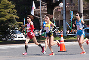 Japan's Yoshimi Ozaki (number 13) came second in the Nagoya Women's Marathon, boosting her chance of qualifying in the London 2012 Olympics. Remi Nakazato (#16), and Mai Ito (#19) also pictured.