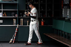 SAN FRANCISCO, CA - MAY 26: Mike Yastrzemski #5 of the San Francisco Giants stands in the dugout before the game against the Arizona Diamondbacks at Oracle Park on May 26, 2019 in San Francisco, California. The Arizona Diamondbacks defeated the San Francisco Giants 6-2. (Photo by Jason O. Watson/Getty Images) *** Local Caption *** Mike Yastrzemski