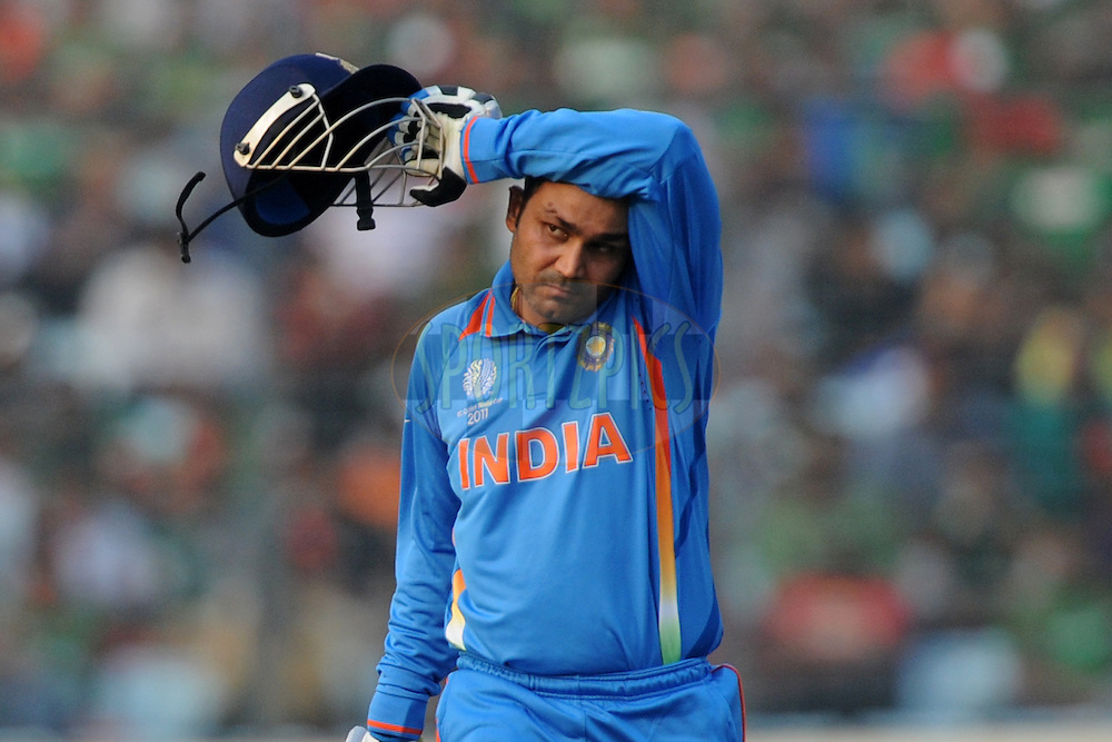 Virender Sehwag of India bats during the opening match of the ICC Cricket World Cup between India and Bangladesh held at the Shere-e-Bangla Stadium in Dhaka, Bangladesh on the 19th February 2011..Photo by Pal Pillai/BCCI/SPORTZPICS