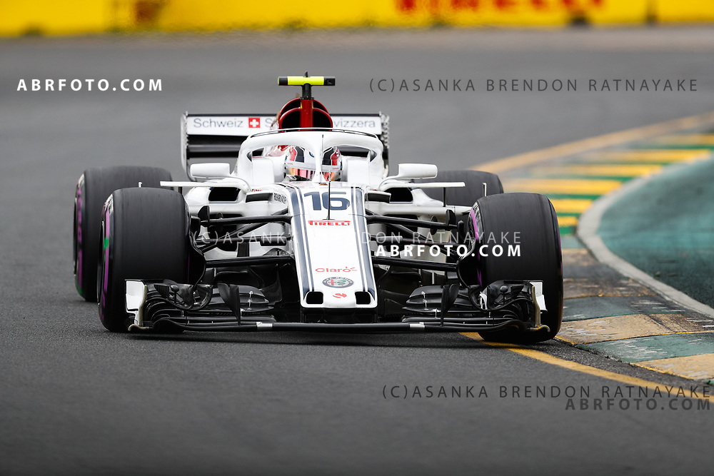 Sauber driver Charles Leclerc of Monaco on Saturday during Qualifying for the 2018 Rolex Formula 1 Australian Grand Prix at Albert Park, Melbourne, Australia, March 24, 2018.  Asanka Brendon Ratnayake
