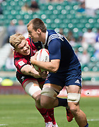 Twickenham, Surrey United Kingdom. [L] Wales, Sam CROSS, gets to grips with USA's Ben PINKELMAN, during the Pool A match at the <br /> &quot;2017 HSBC London Rugby Sevens&quot;,  Saturday 20/05/2017 RFU. Twickenham Stadium, England    <br /> <br /> [Mandatory Credit Peter SPURRIER/Intersport Images]