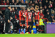 Jack Wilshire of AFC Bournemouth is substituted for AFC Bournemouth forward Benik Afobe during the Premier League match between Bournemouth and Manchester City at the Vitality Stadium, Bournemouth, England on 13 February 2017. Photo by Graham Hunt.