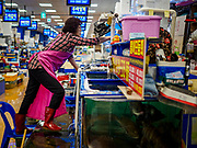 06 JUNE 2018 - SEOUL, SOUTH KOREA: A vendor opens her shop in the retail section of the Noryangjin Fish Market. The Noryangjin Fish Market is the largest fish market in Seoul and has been in operation since 1927. It opened in the current location in 1971 and was renovated in 2015. The market serves both retail and wholesale customers and has become a tourist attraction in recent years.       PHOTO BY JACK KURTZ
