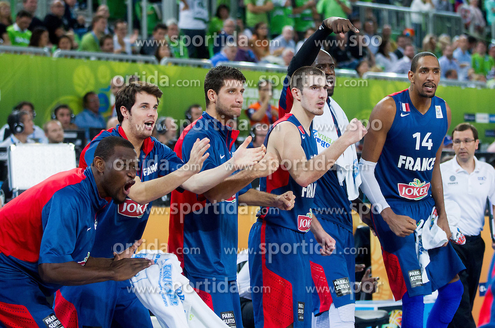 Players of France celebrate during basketball match between National teams of Slovenia and France in Quarterfinals at Day 15 of Eurobasket 2013 on September 18, 2013 in Arena Stozice, Ljubljana, Slovenia. (Photo by Vid Ponikvar / Sportida.com)