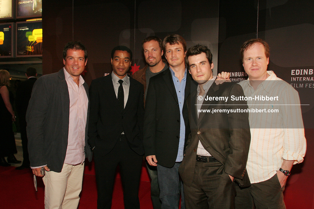 WORLD PREMIERE OF 'SERENITY' MOVIE, (L TO R: Chris Buchanan,  Chiwetel Ejiofor, Adam Baldwin, Nathan Fillion, Sean Maher, and Joss Whedon),  written and directed by Joss Whedon, creator of 'Buffy, The Vampire Slayer', 'Angel', 'Firefly'. At  Cineworld, Edinburgh International Film Festival 2005, Edinburgh, Scotland.