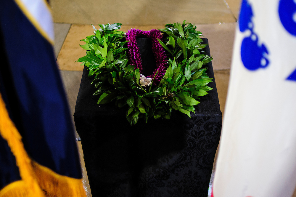 A Hawaiian Lei rests on a podium at the U.S. Capitol on Thursday during a service and public viewing of the late Senator Daniel Inouye (D-HI) who passed away at the age of 88 on December 18 at the Walter Reed National Military Medical Center in Bethesda, Md. Inouye, 88, a decorated World War II veteran and the second-longest serving senator in history will lie in state in the Capitol Rotunda until Friday when a memorial service will be held at the National Cathedral.