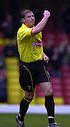 28/02/2004  -  Nationwide Div 1 Watford v Wimbledon.Watford skipper Neil Cos punch's thee air after scoring Watford's second from the penalty spot