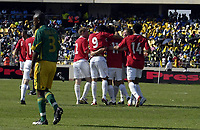Fotball<br /> Privatlandskamp<br /> Sør Afrika v Norge 2-1<br /> Rustenburg<br /> 28.03.2009<br /> Foto: Vegard Fiskerstrand, Digitalsport<br /> <br /> Norge jubler for Morten Gamst Pedersen sin scoring