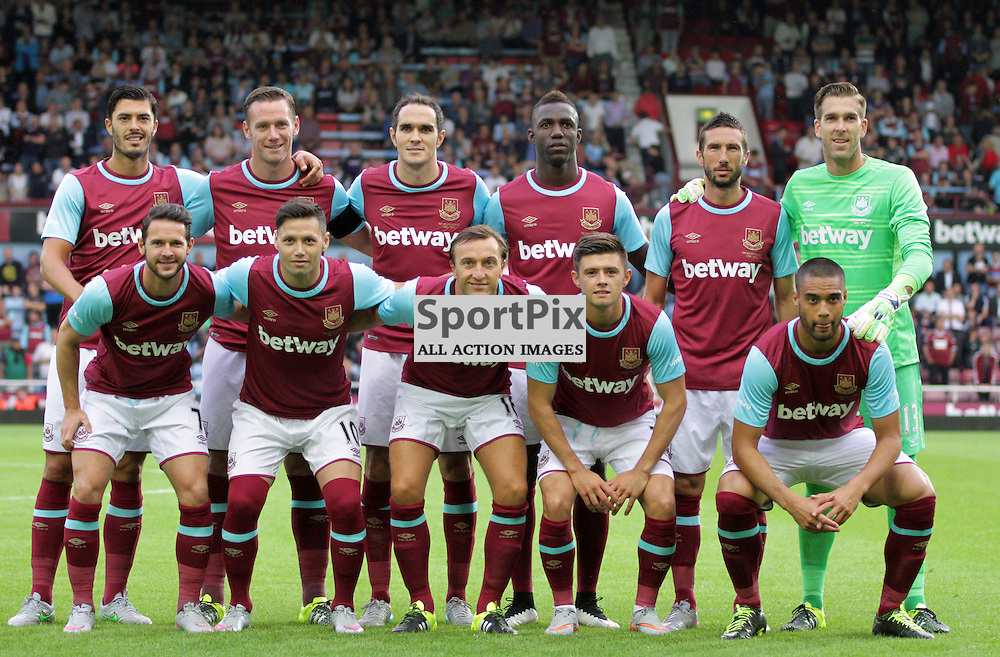 The West ham team pose for a team photo before kick off for the match between West Ham United vs Birkirkara FC, Europa League Match on Thursday 16th July 2015