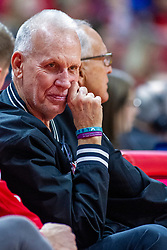 NORMAL, IL - December 07: Doug Collins sits next to good friend Don Franke during a college basketball game between the ISU Redbirds and the Morehead State Eagles on December 07 2019 at Redbird Arena in Normal, IL. (Photo by Alan Look)