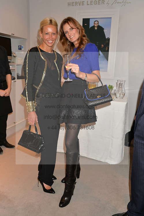 Left to right, BRITT LINTNER and KJ WILLETT at a party at Herve Leger, Lowndes Street, London on 12th November 2014 to view the latest collection.