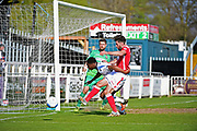 Wrexham Defender Mark Carrington goes for goal during the Vanarama National League match between Bromley FC and Wrexham FC at Hayes Lane, Bromley, United Kingdom on 8 April 2017. Photo by Jon Bromley.
