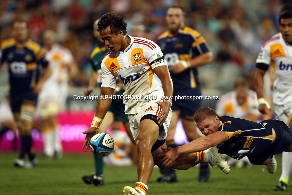 Tim Nanai-Williams drops the ball with the line open as Josh Valentine dives<br /> Super 14 rugby union match, Brumbies v Cheifs, Canberra, Australia. Saturday 19 February 2011. Photo: Paul Seiser/PHOTOSPORT