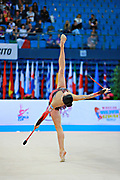 Neta Rivkin during Finnal at clubs in Pesaro World Cup at Adriatic Arena on 12 April 2015. Neta was born on June 23, 1991 in Petah Tiqwa Israel. <br /> She is one of Israel's most successful rhythmic gymnasts.
