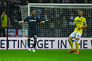 Francisco Casilla of Leeds United (33) and Liam Cooper of Leeds United (6) in action during the EFL Sky Bet Championship match between Preston North End and Leeds United at Deepdale, Preston, England on 9 April 2019.