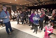 """Cocktail de l'ambassade de Slovenie à L'occasion du spectacle """"Le Canard, la mort et la tulipe"""" du Théâtre de marionnettes de Ljubljana, lors du 12e Festival de Casteliers, marionnettes pour adultes et enfants - 2017 en présence de Marjan Cencen, ambassadeur de Slovenie et de Louise Lapointe, Codirectrice générale et directrice artistique de Casteliers."""
