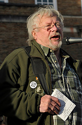 © Licensed to London News Pictures. 30/11/2013; Bristol, UK.  Bill Oddie speaks against the badger cull at an anti badger cull rally on Bristol's College Green, on the day that DEFRA halts the extension of the cull in Gloucestershire due to the cull missing the target for the number of badgers killed.  30 November 2013.<br /> Photo credit : Simon Chapman/LNP