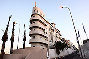 """Israel, Tel Aviv, Shimeon Levi house, commonly known as """"Ship building"""" that was build in 1935 in center Tel Aviv following the popular Bauhaus style. ."""