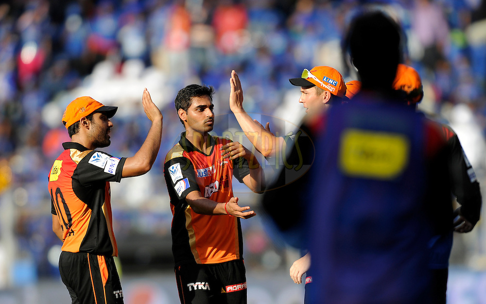 Bhuvneshwar Kumar of Sunrisers Hyderabad celebrates the wicket of Ambati Rayudu of Mumbai Indians during match 23 of the Pepsi IPL 2015 (Indian Premier League) between The Mumbai Indians and The Sunrisers Hyferabad held at the Wankhede Stadium in Mumbai India on the 25th April 2015.<br /> <br /> Photo by:  Pal Pillai / SPORTZPICS / IPL