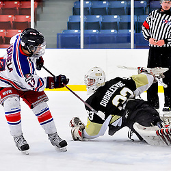 NORTH YORK, ON - Feb 9 : Ontario Junior Hockey League Game Action between North York Rangers Hockey Club and the Trenton Golden Hawks Hockey Club. Denny Dubblestyne #33 of the Trenton Golden Hawks Hockey Club makes the save on Gabriel Valenzuela #13 of the North York Rangers Hockey Club during the shoot out.<br /> (Photo by Phillip Sutherland / OJHL Images)