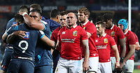 Rugby Union - 2017 British & Irish Lions Tour of New Zealand - The Blues vs. British & Irish Lions<br /> <br /> Augustine Pulu celebrations as The Blues beat The Lions as Rory Best looks on at Eden Park, Auckland.<br /> <br /> COLORSPORT/LYNNE CAMERON